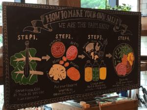 お店の壁にサラダの説明